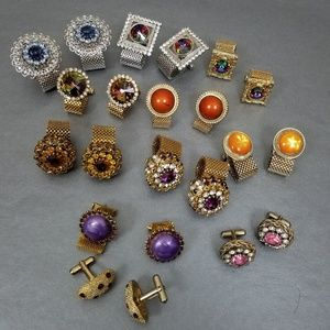 Vtg 12 Pairs Jeweled Cufflinks Big Bold Gold-Silve